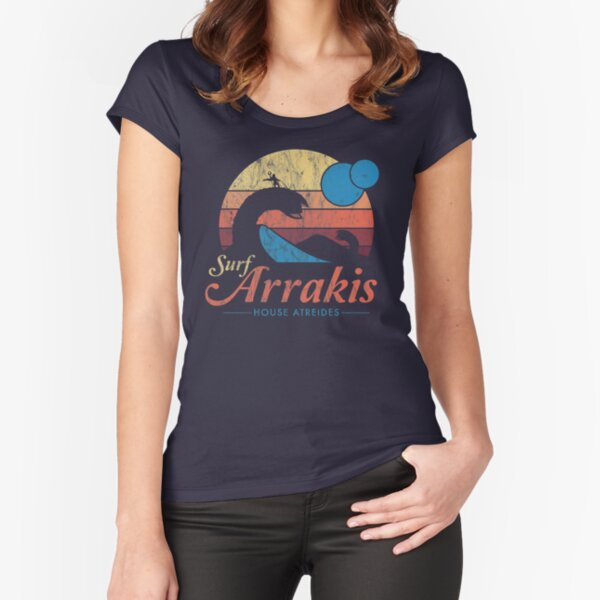 Visit Arrakis - Vintage Distressed Surf - Dune - Sci Fi Fitted Scoop T-Shirt