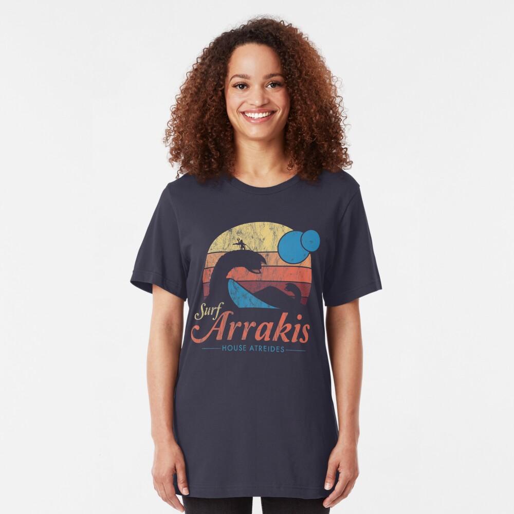 Visit Arrakis - Vintage Distressed Surf - Dune - Sci Fi Slim Fit T-Shirt