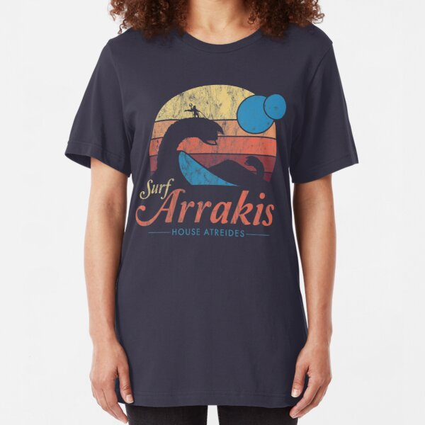 Visit Arrakis - Vintage Distressed Surf - Dune - Sci Fi Slim Fit T-Shirt