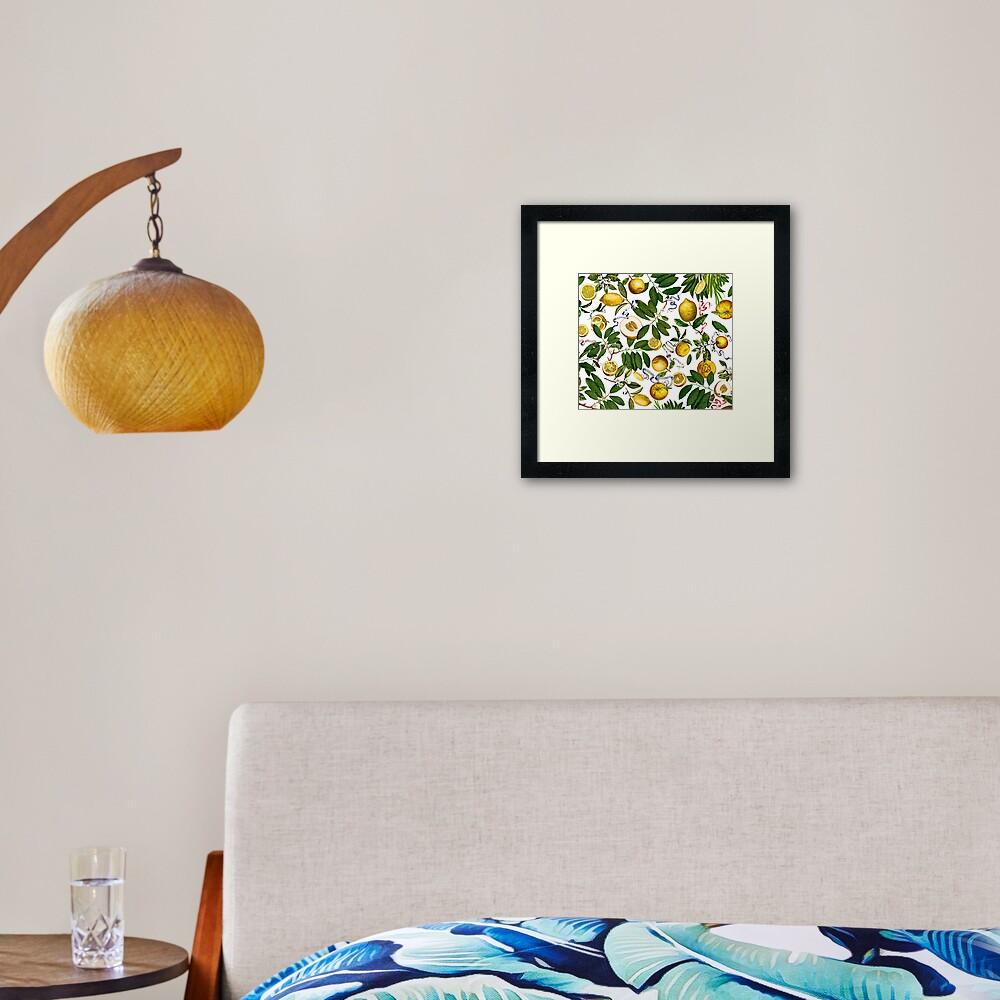 Zitronenbaum - Weiß Gerahmter Kunstdruck