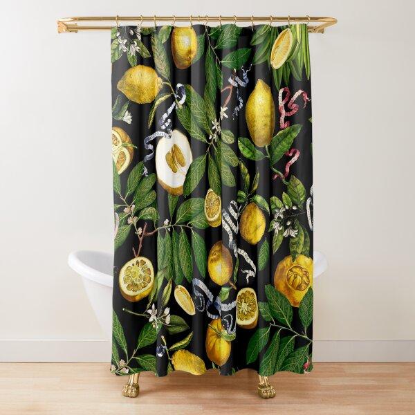 Lemon Tree - Black Shower Curtain