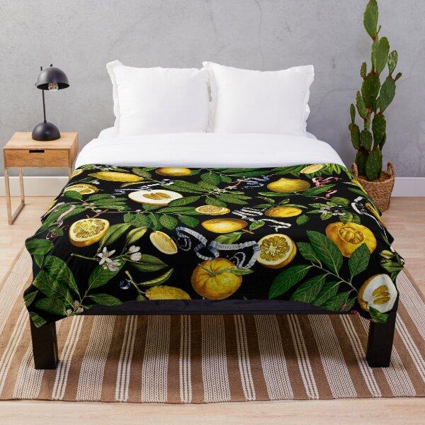 Lemon Tree - Black Throw Blanket