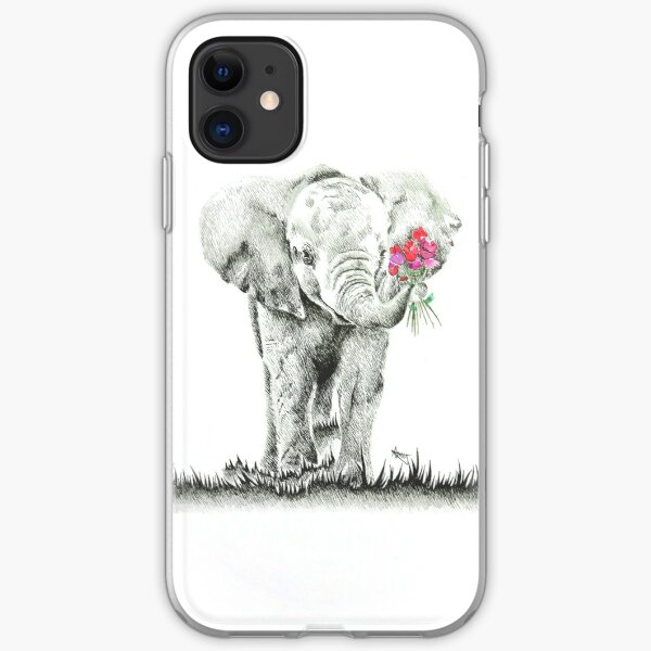 """Elefant mit Blumen"" Original-Artworks iPhone Flexible Hülle"