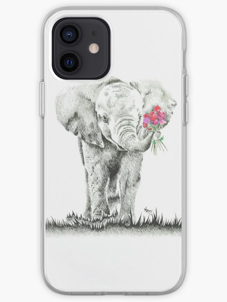 Oeuvre originale 'Éléphant avec des fleurs' | Coque iPhone