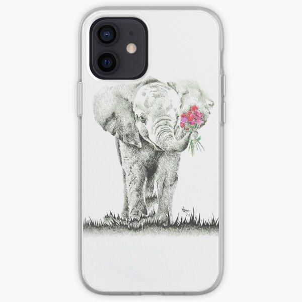 'Elephant with Flowers' Original Artwork iPhone Soft Case