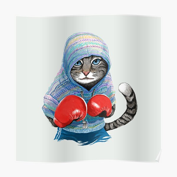 Boxing cat Poster