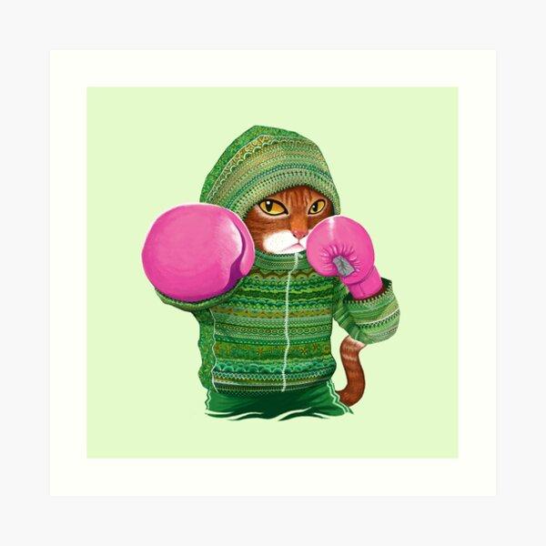 Boxing cat 4 Art Print