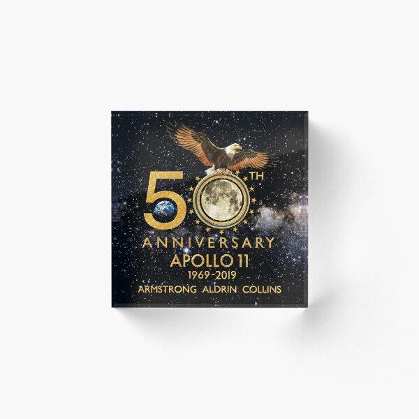 50 aniversario del alunizaje Apolo 11 1969-2019 Bloque acrílico