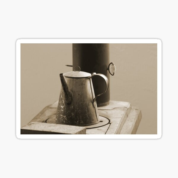 Coffee Pot on Cast Iron Stove in Sepia - Fort Stanton New Mexico Sticker