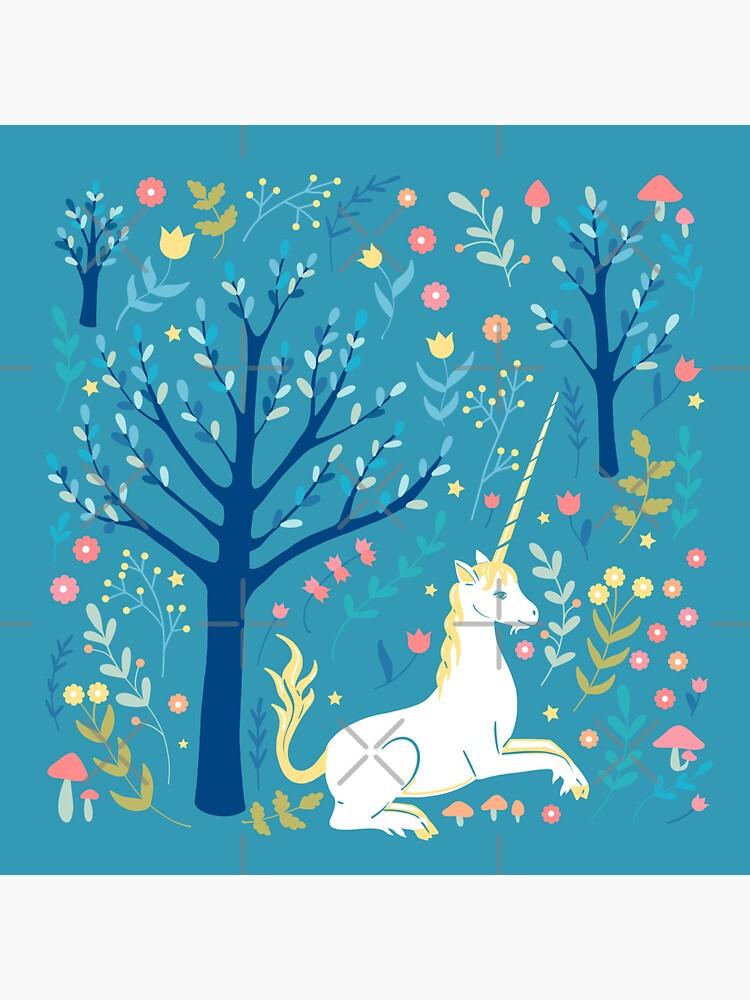 Teal unicorn garden by Elenanaylor