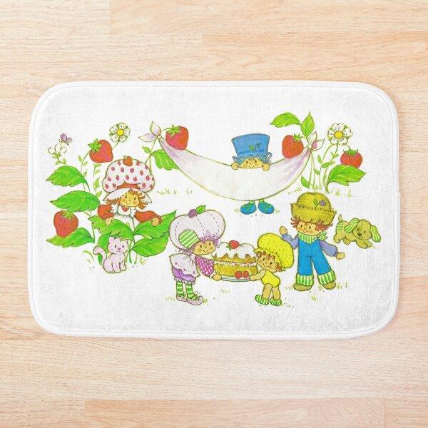 """Picnic With Strawberry & Friends"" Vintage, Card, Inspired, Retro, Strawberry, Shortcake, SSC, Apple Dumplin, Huckleberry Pie, Raspberry Tart, Blueberry Muffin, Custard, Pupcake, Strawberries    Bath Mat"
