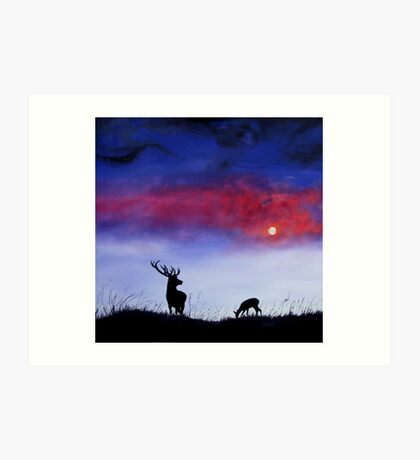 Stag In Moonlight Art Print