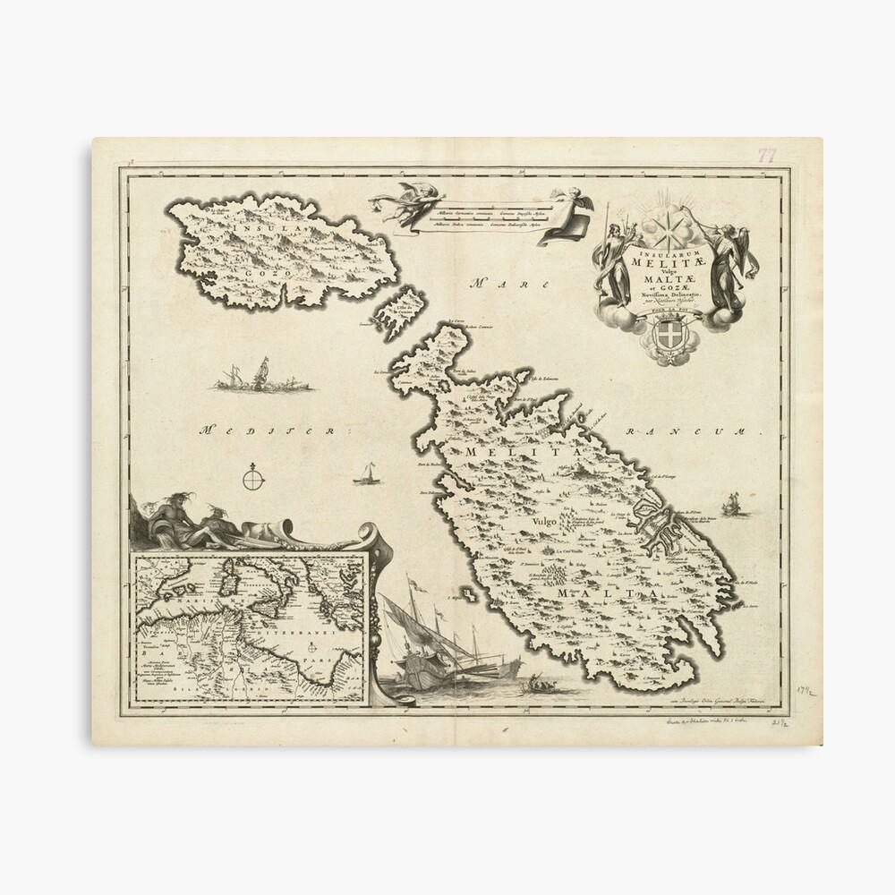 Vintage Malta Map (1698) Canvas Print