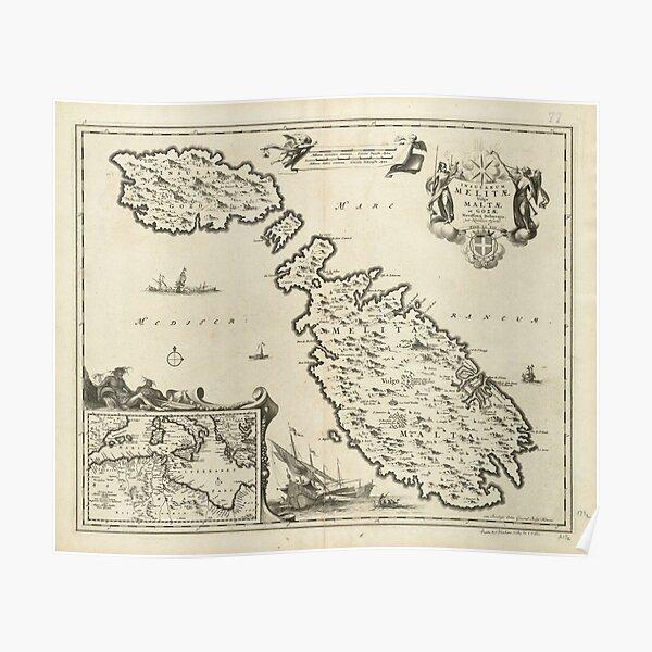 Vintage Malta Map (1698) Poster