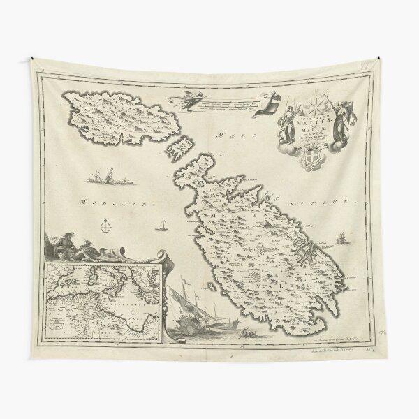 Vintage Malta Map (1698) Tapestry