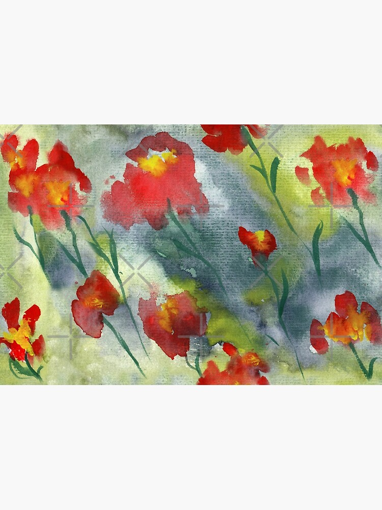 Abstract red watercolor poppies pattern by nobelbunt