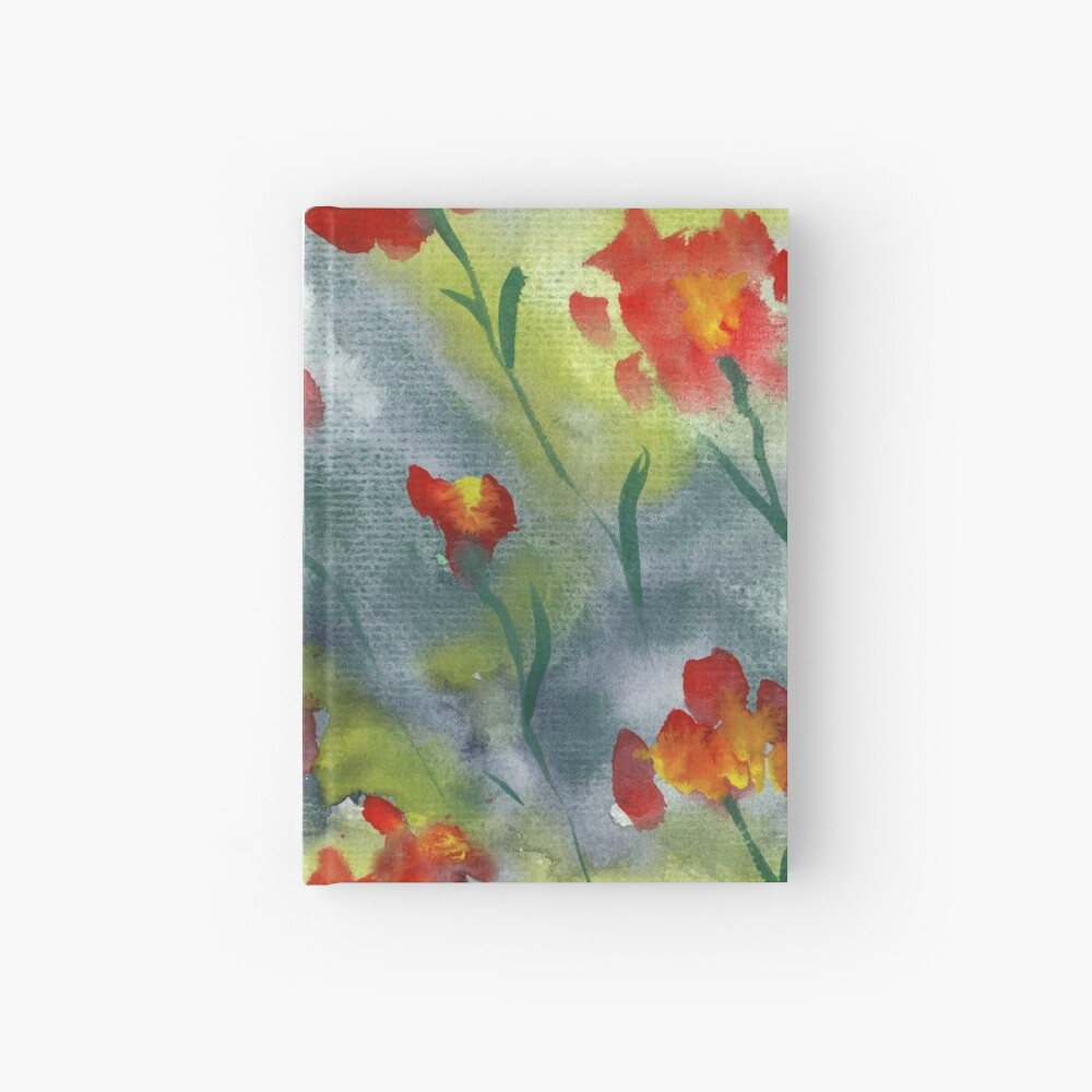 Abstract red watercolor poppies pattern Hardcover Journal