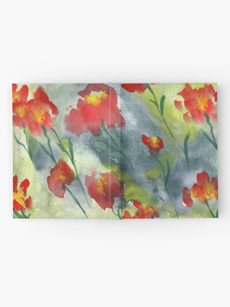 Alternate view of Abstract red watercolor poppies pattern Hardcover Journal