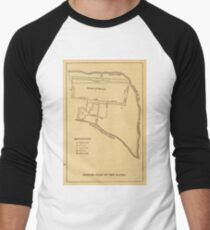 Erinnere dich an die Alamo Vintage Map (1881) Baseballshirt mit 3/4-Arm