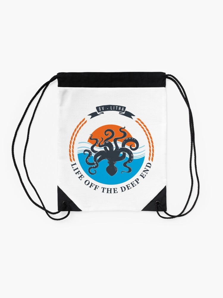 Alternate view of Life off the deep end Drawstring Bag
