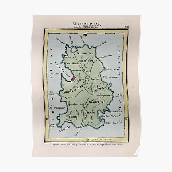 Vintage Mauritius Map (1801) Poster