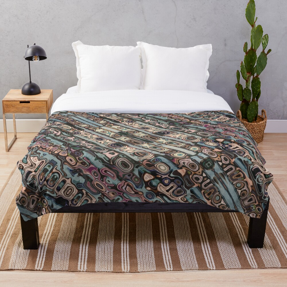 Abstract Textured Earth Tones Pattern Throw Blanket