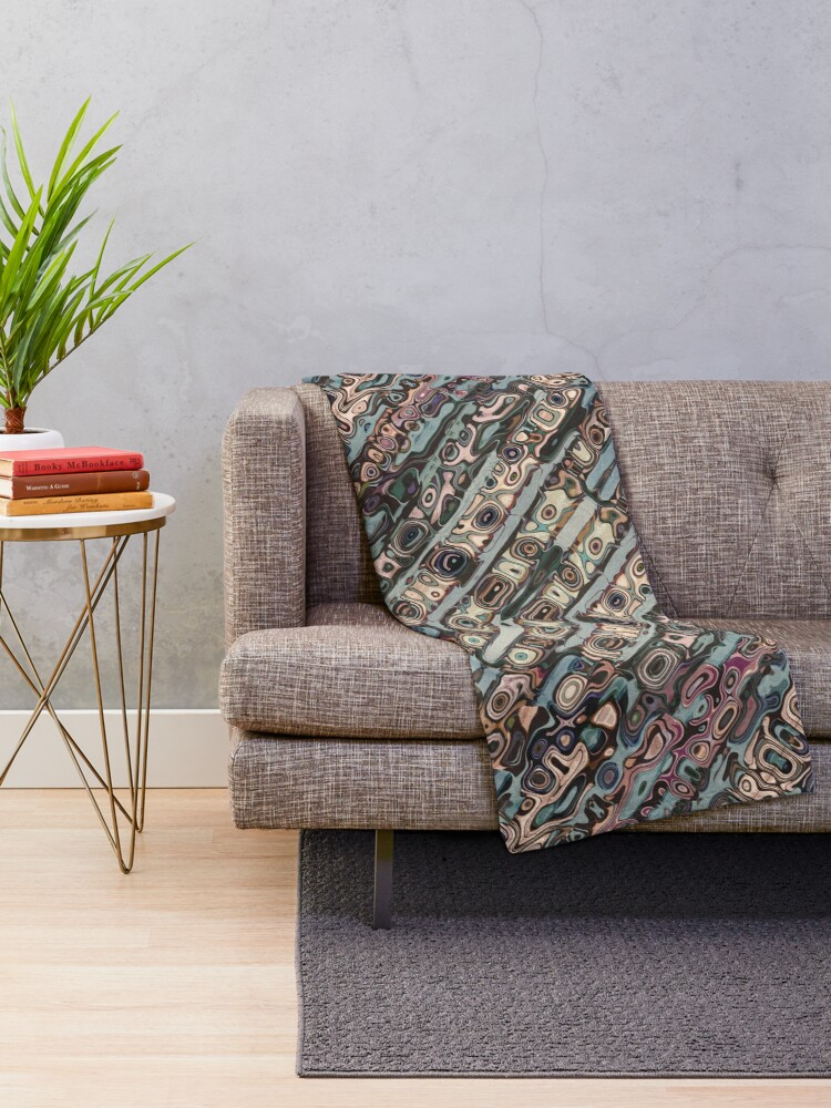 Alternate view of Abstract Textured Earth Tones Pattern Throw Blanket