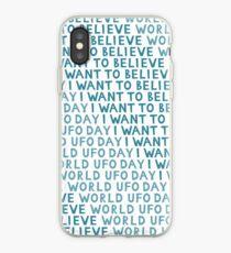 Vinilo o funda para iPhone Patrón de día OVNI, simple fondo sin fisuras. Quiero creer el texto.