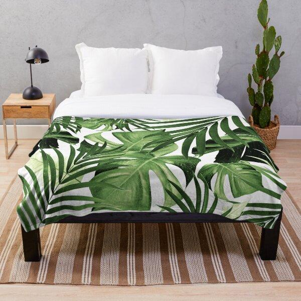 Tropical Jungle Leaves Pattern #12 #tropical #decor #art Throw Blanket