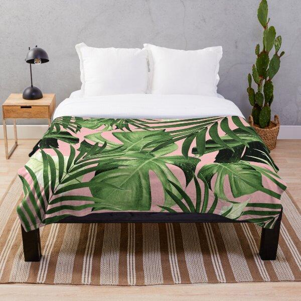 Tropical Jungle Leaves Pattern #11 #tropical #decor #art  Throw Blanket