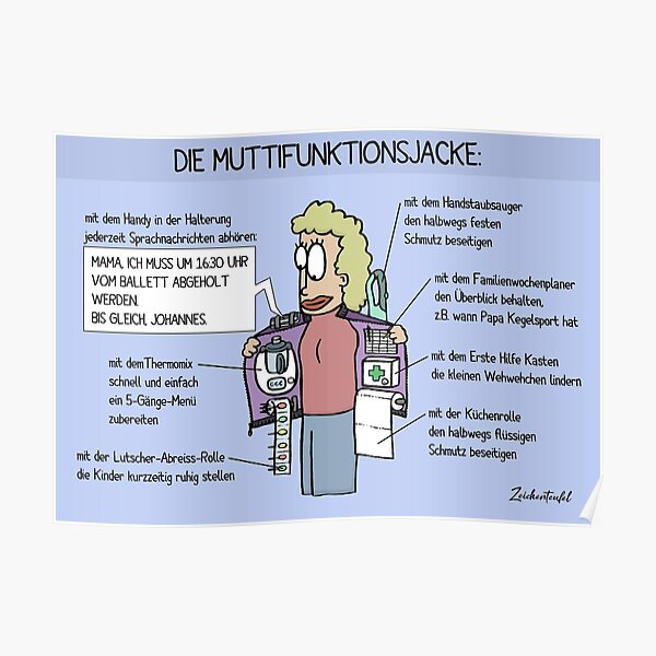 Zeichenteufel - Muttifunktionsjacke Poster