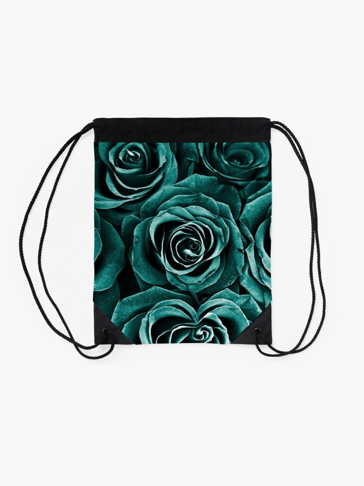 Alternate view of Rose Bouquet in Turquoise Drawstring Bag