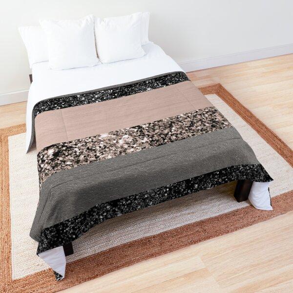 Blush Glitter Glam Stripes #1 #shiny #decor #art Comforter