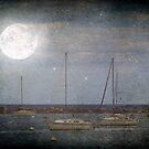 Sail Boats Asleep Beneath the Harvest Moon © by Dawn Becker