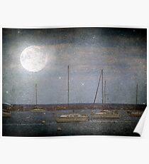 Sail Boats Asleep Beneath the Harvest Moon © Poster