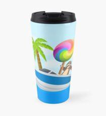 Sloth Down and Enjoy Life, Island Paradise Joypixels Emoji Travel Mug