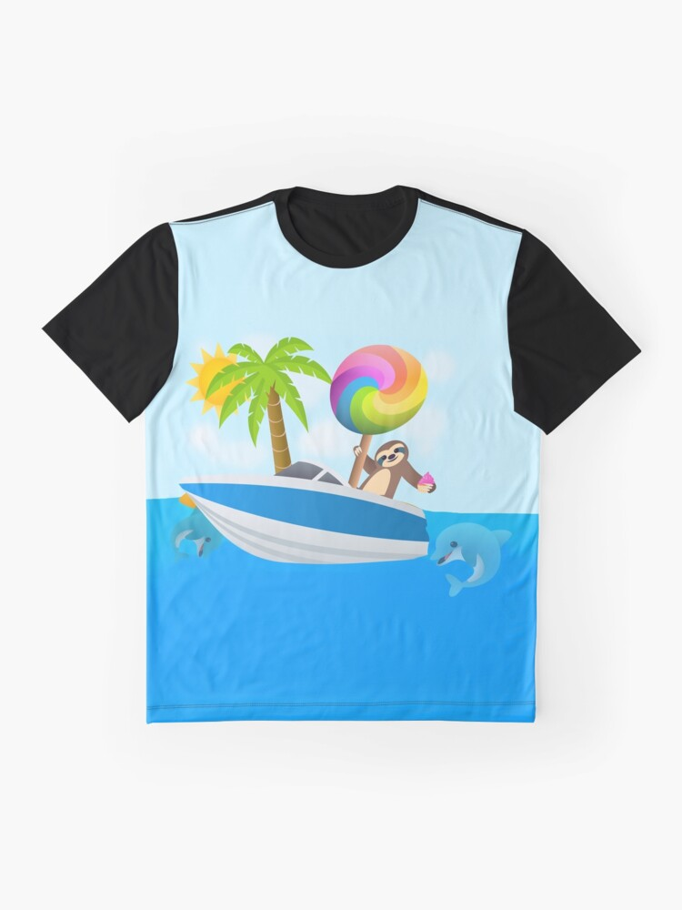 Alternate view of Sloth Down and Enjoy Life, Island Paradise Joypixels Emoji Graphic T-Shirt