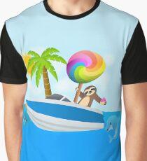 Sloth Down and Enjoy Life, Island Paradise Joypixels Emoji Graphic T-Shirt
