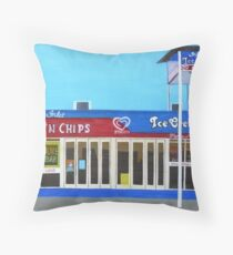 Fish and Chips and Ice Cream Parlour Throw Pillow
