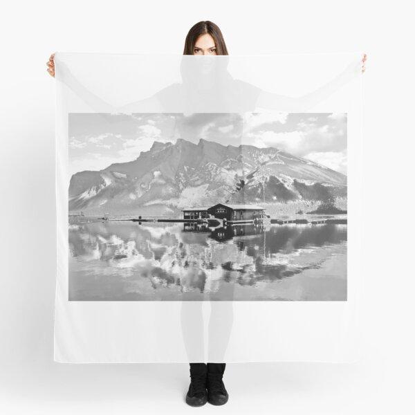 Black and White Lake Minnewanka, Alberta, Canada Scarf
