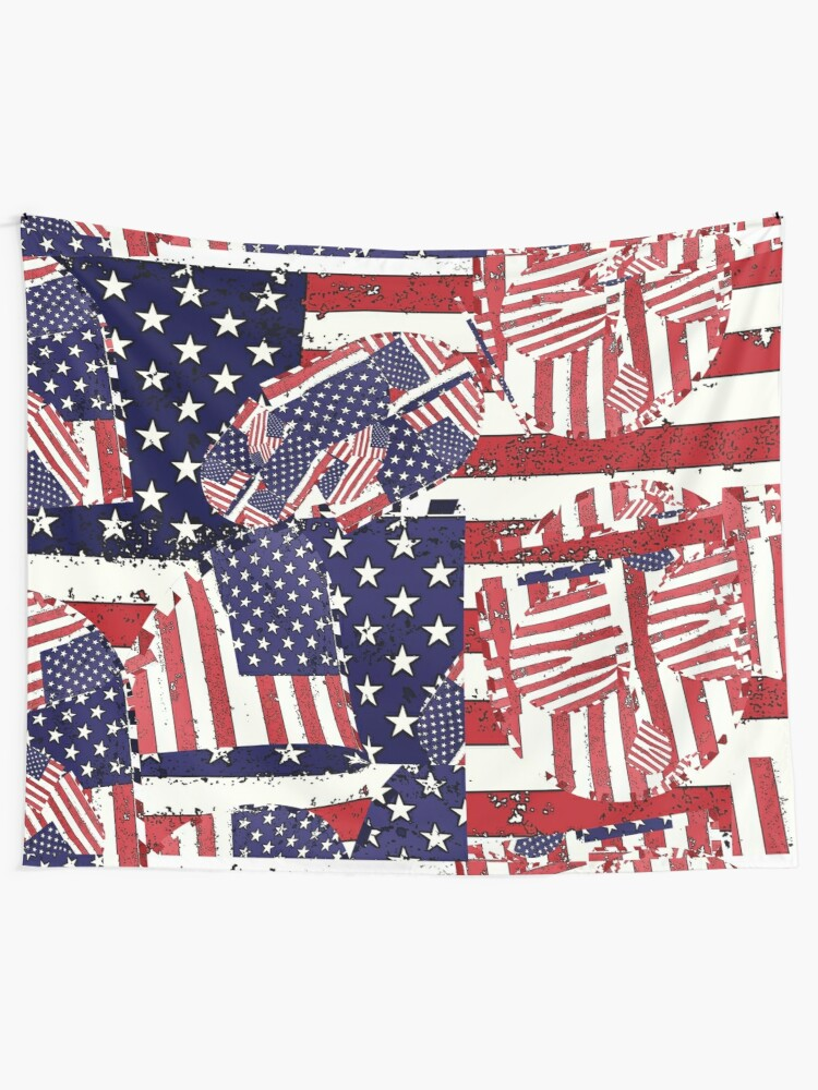 Alternate view of Stars and Stripes pattern Tapestry