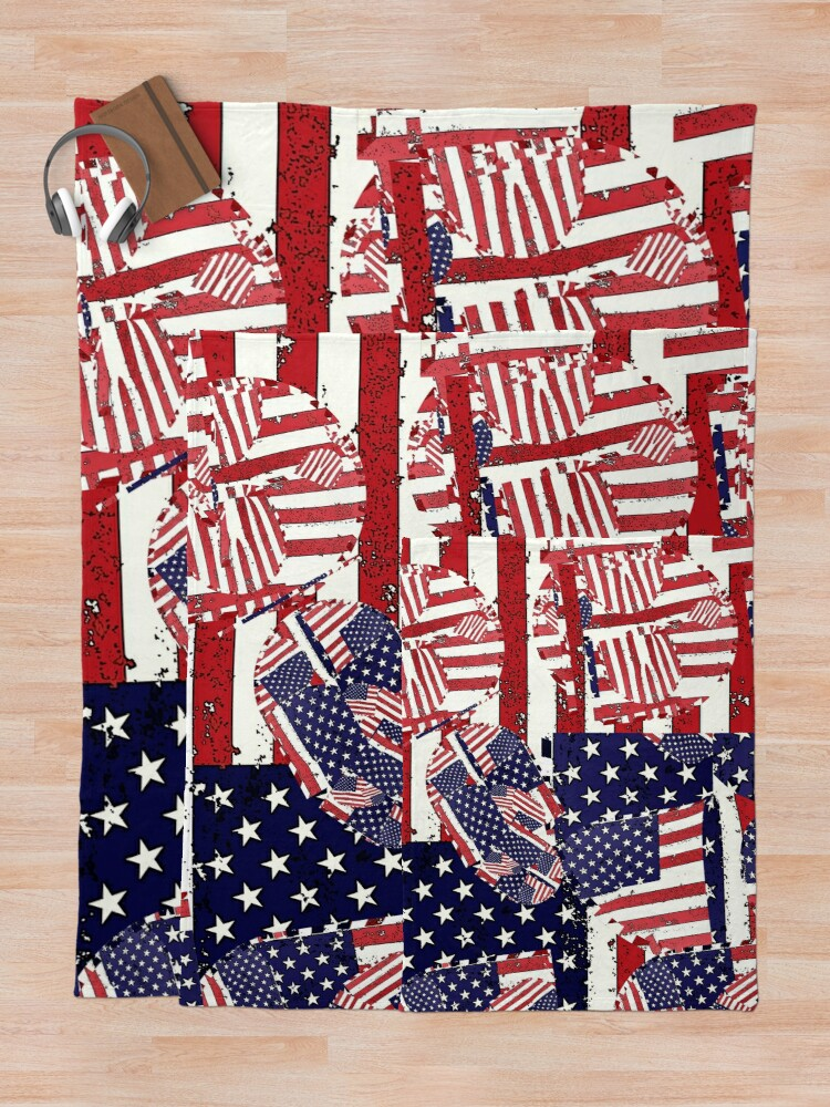 Alternate view of Stars and Stripes pattern Throw Blanket