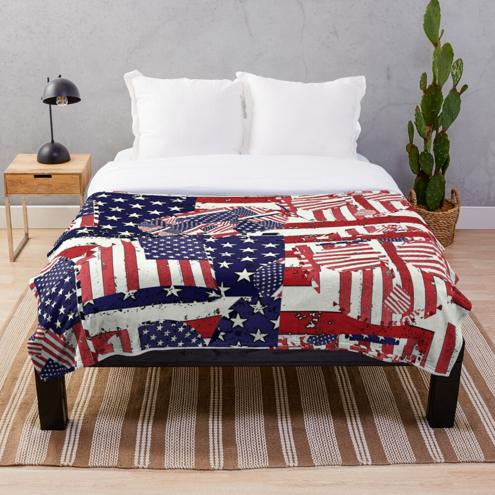 Stars and Stripes pattern Throw Blanket
