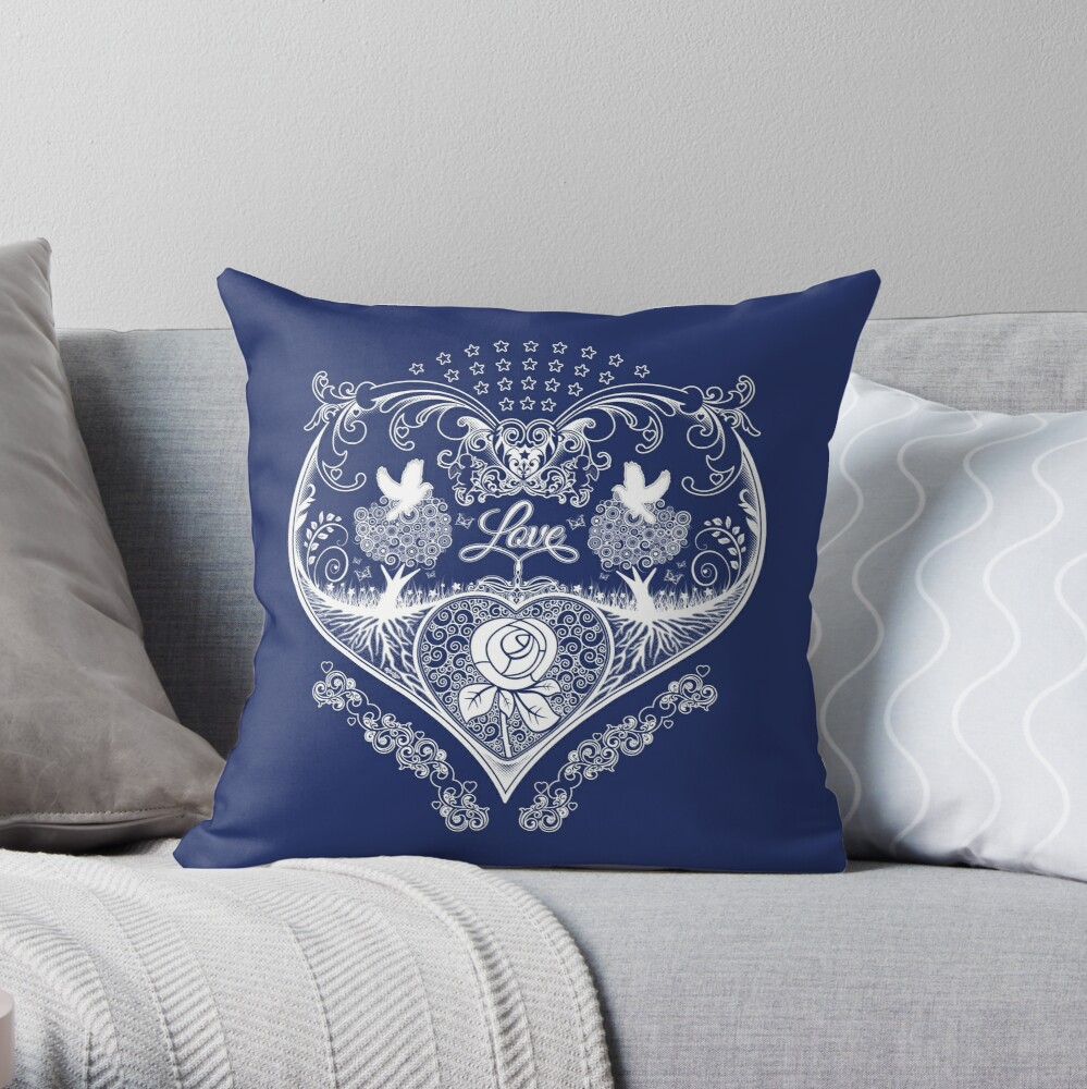 LOVE HEART - Navy Throw Pillow