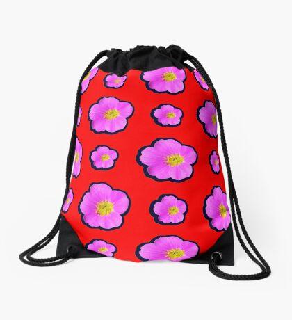 Pink Wildflower Drawstring Bag