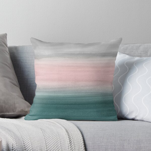 Touching Teal Blush Gray Watercolor Abstract #1 #painting #decor #art  Throw Pillow