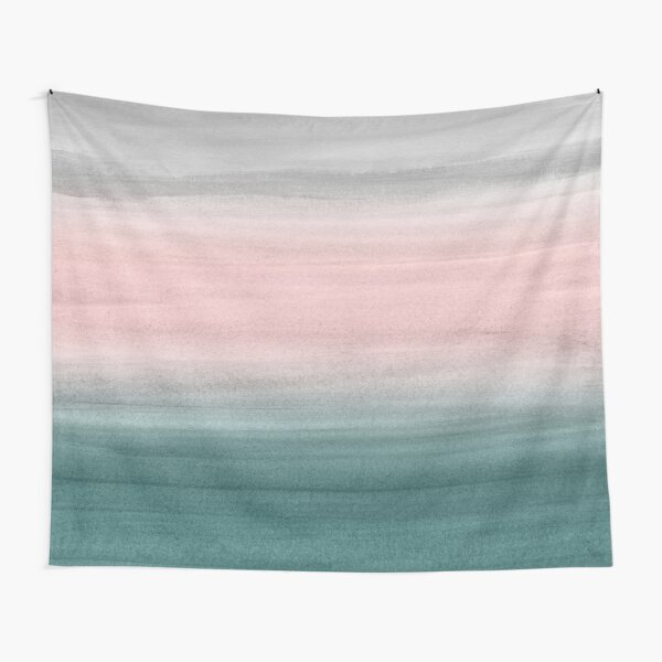 Touching Teal Blush Gray Watercolor Abstract #1 #painting #decor #art  Tapestry