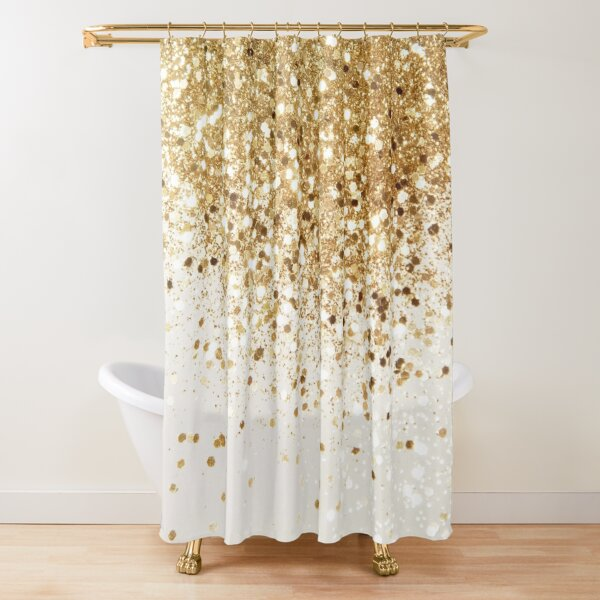 Sparkling Gold Glitter Glam #2 (Faux Glitter) #shiny #decor #art Shower Curtain