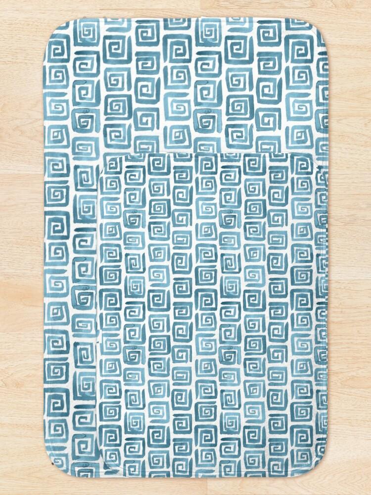 Alternate view of Greek Key Pattern - Blue grey Bath Mat