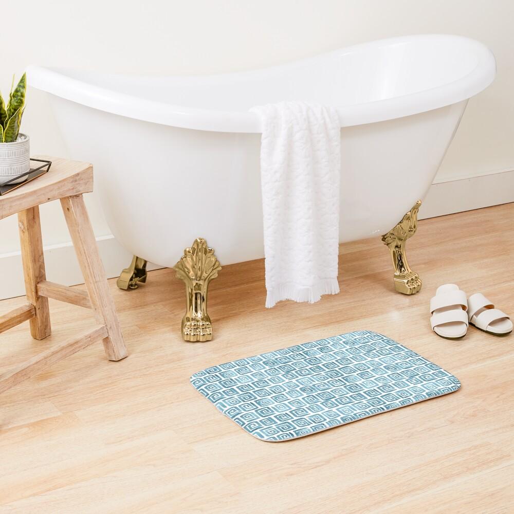 Greek Key Pattern - Blue grey Bath Mat
